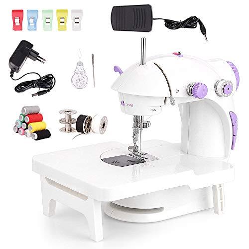 Faburo mini macchina da cucire con scaffale di espansione e 10 pz bobine di filo