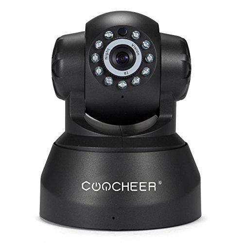 Wlan IP Kamera Indoor HD WIFI Überwachungskamera Netzwerkkamera IP Cam,IR Infrarot Nachtsicht Bewegungsmelder Sicherheitskamera,720P PTZ 4X Zoom P2P, 2-Wege Audio mit Baby Monitor,unterstützt Fernalarm und Mobile App Kontrolle-Schwarz