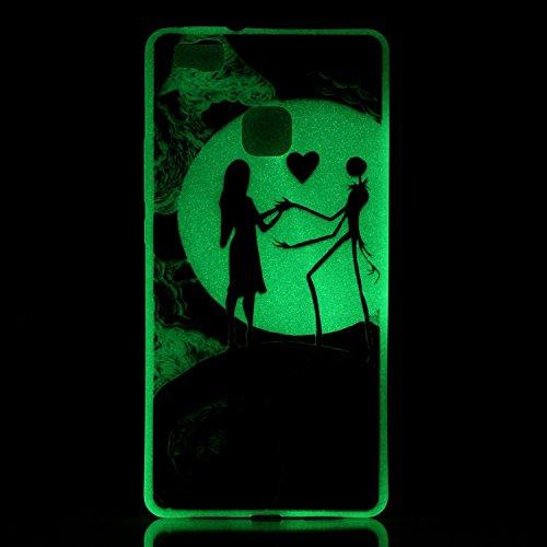 Voguecase® Pour Iphone SE, Noctilucent TPU Silicone Shell Housse Coque Étui Case Cover (la tête de loup/plume)+ Gratuit stylet l'écran aléatoire universelle danseuse