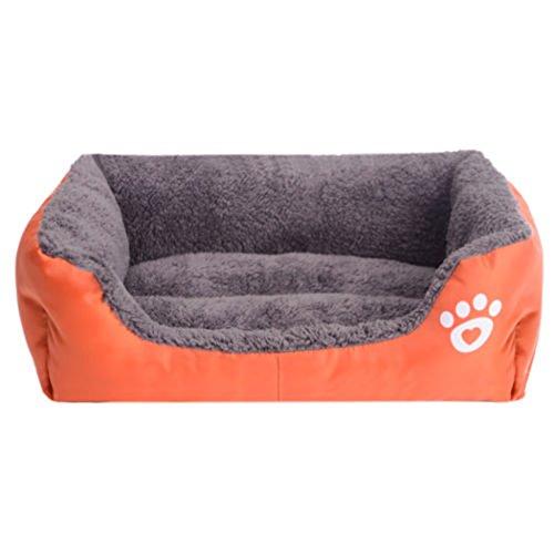 Yihya Lavabile Carina Quadrato Arancione Cadere Inverno Morbido Molle Pet Puppy Gatto Canile Sonno Letto Doggy Doghouse Cuscino Basket (Media: 58 * 45 * 14cm) - Bed Kennel