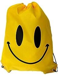 Moolecole Cara Sonriente CordónBolsa De Equipo Para La Natación Bolso De Totalizador De La PlayaBolsa De Almacenamiento Amarillo