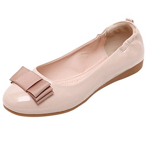 Oasap Women's Round Toe Bow Foldable Ballet Shoes Apricot