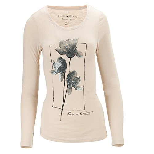 Fresh Made Damen Langarmshirt Longsleeves Shirt Blumen Pailletten Rosa