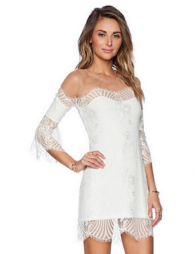 PU&PU Robe Aux femmes Gaine Street Chic,Mosaïque Sans Bretelles Mini Polyester WHITE-M