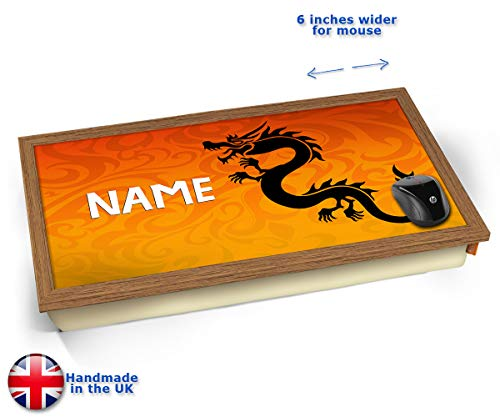 Tribal Dragon Personalised Childrens Name Cushioned Bean Bag Laptop Lap Tray Desk - Built-in EMF...