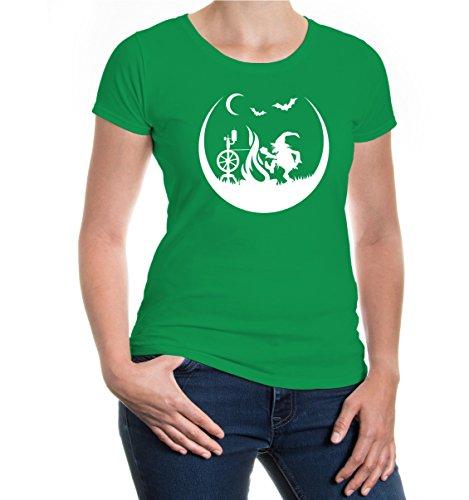 buXsbaum® Girlie T-Shirt Feuerzwerg Kellygreen-White
