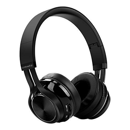 Cuffie bluetooth pieghevoli auricolari - senza fili con stereo hifi, microfono integrato per iphone, samsung, cellulari e tablet android, nero