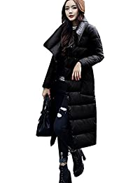 Queenshiny thick Long Women's Down Coat hooded oblique placeket Goose down filling winter uk size from 8--16