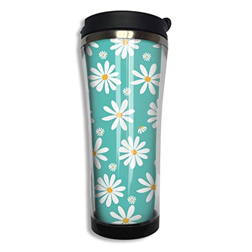 Doodle White Daisy Flowers 14 Oz Tumbler-Vacuum Insulated Double Stainless Steel Water Bottle Travel Coffee Mug Cup Daisy Tumbler