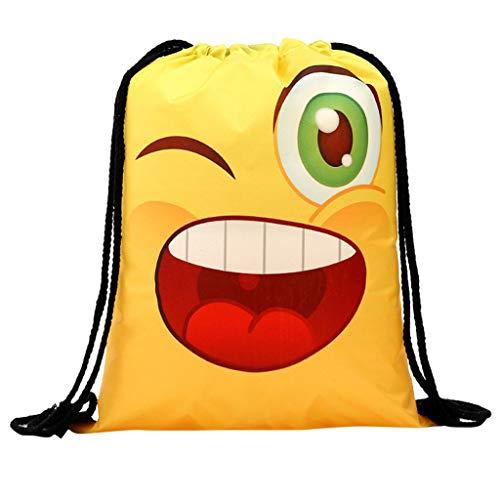 holitie Frauen Rucksack Speicher Bündel Seil lustiges niedliches Muster Einkaufstasche Rucksack mit Kordelzug, faltbar, Aufbewahrungsmöglichkeit für Schule, Zuhause, Reisen, Sport