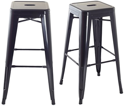 ComptoirXL Tabouret de Bar Design Industriel Manhattan (Lot de 2) Noir
