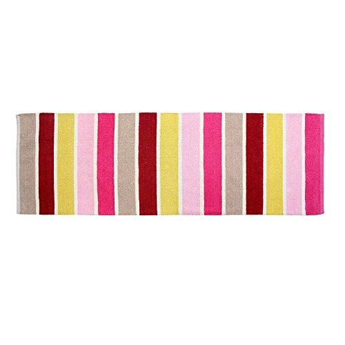 r Chenille Streifen Teppich Vorleger 66 x 200 cm aus 100% reiner Baumwolle, Farbkombination: pink, rosa, gelb, rot und beige, pflegeleicht und strapazierfähig ()