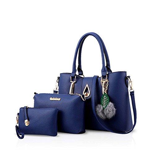 NICOLE&DORIS Neu Mode 3 PCS Tasche Handtasche Schulter Frauen Crossbody Totes Bote Weich PU Blau (Über Die Schulter Tasche Handtasche)