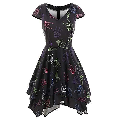 Dicomi Mode Frauen Halloween Skelett hände Taschentuch gedruckt Kleid Abendgesellschaft Schwarz L (Machen Tiger Tail Kostüm)