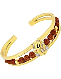 The Jewelbox Rudraksh American Diamond Gold Plated Ganesh Men Cuff Kada Bracelet