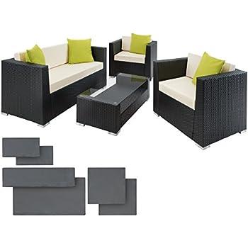 TecTake Hochwertige Alu Luxus Lounge Set Poly Rattan Sitzgruppe Gartenmöbel  Mit 2 Bezugsets Und 4 Extra Kissen Mit Edelstahlschrauben  Diverse Farben   ...