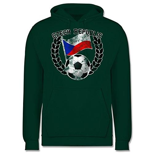 EM 2016 - Frankreich - Czech Republic Flagge & Fußball Vintage - Männer Premium Kapuzenpullover / Hoodie Dunkelgrün
