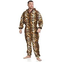 Pijama polar de una pieza de hombre - Estilo tigre marrón/dorado - Talla S a 5XL