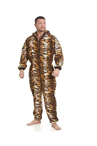 Pijama Polar Pieza Hombre - Estilo Tigre marrón/Dorado