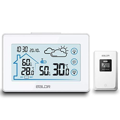 MCvilla Wetterstation, Digitale Thermometer-Hygrometer mit Funk-Außensensor für innen/außen, Wetterstation Farbdisplay mit Touchscreen, Hintergrundbeleuchtung, Wettervorhersage, Uhrzeitanzeige, weiß