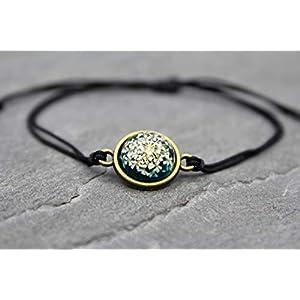 Blüten Armband echte Blumen Makramee Textil Band Armschmuck in Bronze Schwarz und Blau Farbe Blume Schmuck Handmade…