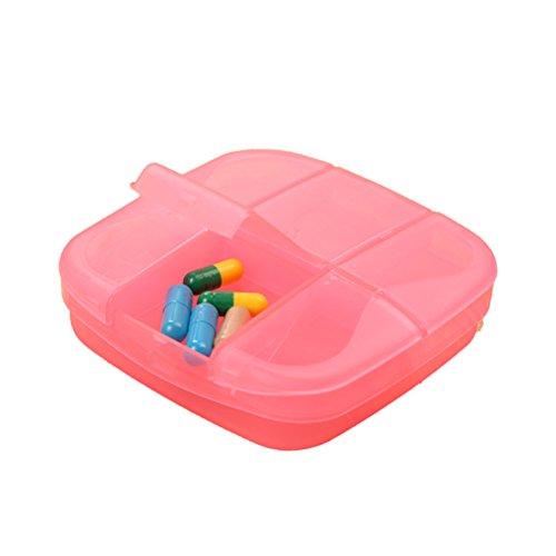 Rosa Vitamine (ULTNICE Pillendose 6 Fächer Tablettenbox Organizer Multifunktional Medikamenten Vitamin Box für Reisen Zuhaus (Rosa))