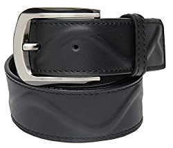 Walletsnbags Oillpullup Leather Stiched And Ribbed Belt (B3_Black_36)
