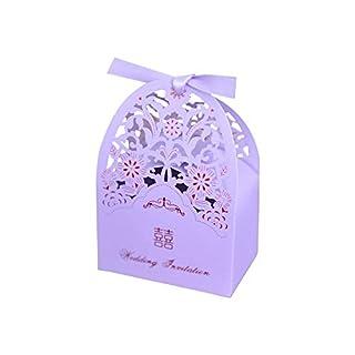 Lvcky 20Pcs Delicate Hollow Wedding Candy Boxes Flowers Gift Box With Ribbon Bonbonniere Party Decoration Violet(Violet)