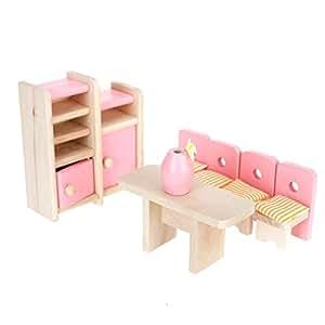 NO:1 Liebenswert Holz Puppenstuben Möbel Esszimmer Spielsets DIY Lern Spielzeug Pädagogische Spielwaren