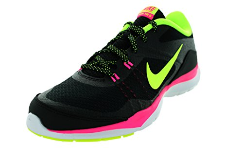Nike Flex Trainer 5, Chaussures de Fitness Femme, 39 EU Negro (Black / Volt-Pink Pow-Dark Grey)