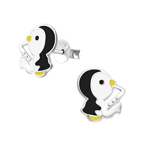 Laimons Mädchen Kids Kinder-Ohrstecker Ohrringe Kinderschmuck Pinguin Süß Saxophon Musik Schwarz Weiß aus Sterling Silber 925