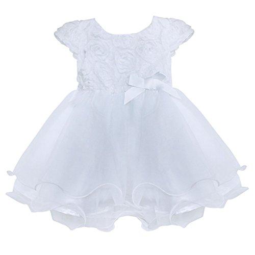 n Kleider 3D Blumen Rose Organza Tutu Rock Party Hochzeit Taufe Babykleidung Weiß 0-24 Monate Weiß 6-9 Monate ()