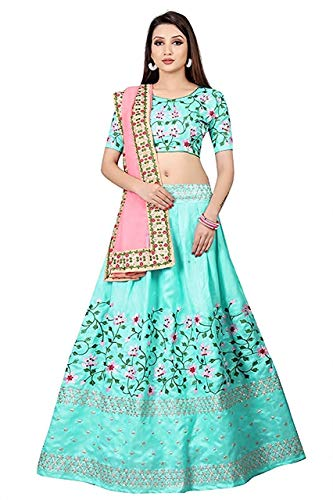 Clickedia Women\'s Banglori Cotton Silk Embroidered Semi-stitched Lehenga with Blouse Piece (Blue, Free Size)