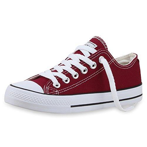 Trendige Unisex Sneakers | Low-Cut Modell | Basic Freizeit Schuhe | Viele Farben | Gr. 36-45 Dunkelrot Weiss