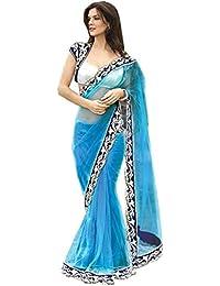 Brahmani Fabrics Women's Net Saree With Blouse Piece (Sea Blue_Firozi)
