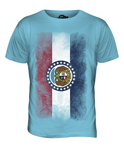 CandyMix Bundesstaat Missouri Verblichen Flagge Herren T Shirt Himmelblau