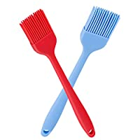 Verigle Silicone Basting Brush Heat Resistant Food Grade for BBQ Grill Barbecue Baking Kitchen Cooking 8.3 inch Red&Blue