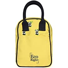 EcoRight Lunch Tote Bag with Bottle Holder & Zipper - Reusable Canvas EcoFriendly Insulated Cooler Washable for Men, Women, Adults (Yellow Pandas)-0705S01