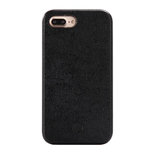 MOONCASE iPhone 7 Plus Hülle, LED Light Up Luminous Selfie Illuminated Hard Tasche Hüllen Schutzhülle Case für iPhone 7 Plus 5.5 Inch (schwarz) schwarz