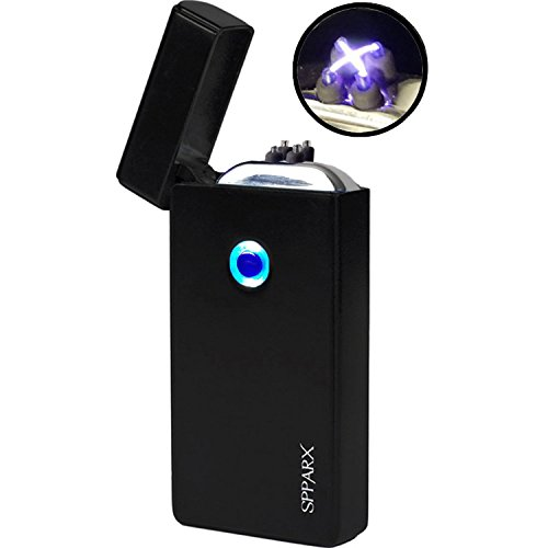 briquet arc électrique, SPPARX USB Briquet, briquets électroniques, double Arc Beam, USB rechargeable coupe-vent, câble USB inclus, élégant Coffret cadeau