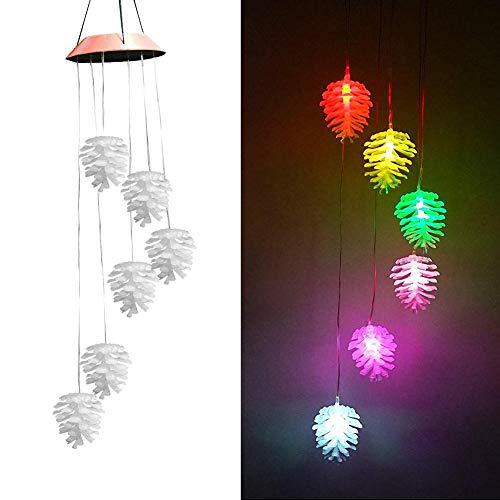 Waroomss campane tubolari led solar,cellulari solari che cambiano colore impermeabile natale pigna campanelli eolici per interni/esterni festa di casa giardino notturno decorazioni natalizie