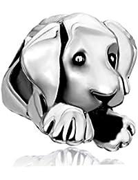 Plata de Ley Uniqueen Cute Puppy Perro de mascota animal charms Bead venta barato para Pandora/Troll/Chamilia pulsera