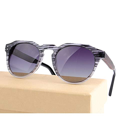 Zbertx Männer Frauen Holz Runde Sonnenbrille Polarisierte Linse Holz Metall Pc Spleißrahmen Fashion Style,C2