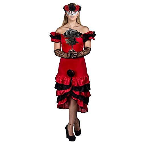 ILOVEFANCYDRESS Halloween Frauen Day of The Death Fasching Karneval KOSTÜM VERKLEIDUNG= 3 TEILIGE=Rumba Kleid + Schwarze Plastik Rosen + Maske MIT ()