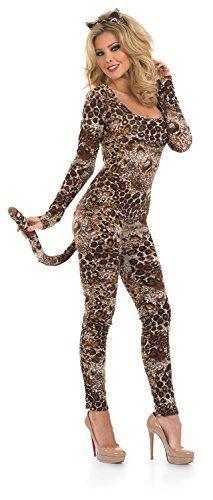 Big Kostüm Ohren Cat (Damen Sexy Puma Catsuit Tier Leopard Raubkatze Big Cat Kostüm Kleid Outfit Übergröße 8-30 - Braun,)