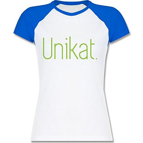 Statement Shirts - Unikat - zweifarbiges Baseballshirt / Raglan T-Shirt für Damen Weiß/Royalblau