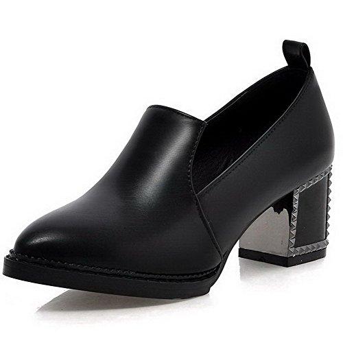 AgooLar Femme Matière Souple Tire Pointu à Talon Correct Couleur Unie Chaussures Légeres Noir