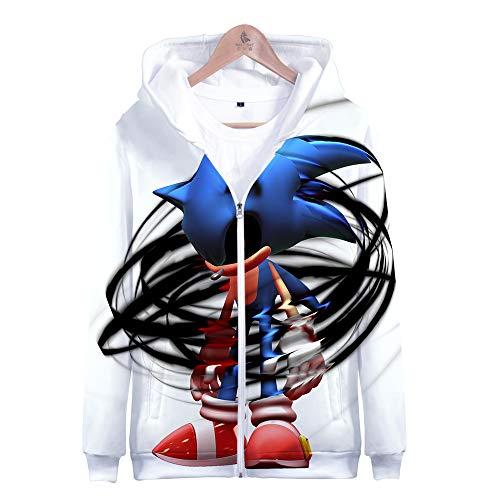LEILEITX Unisex 3D Druck Männlich Weiblich Hoodie Kapuzenpullover Langarm Sweatshirt Kapuzenjacke Mit Taschen Reißverschluss Sonic The Hedgehog