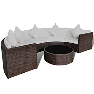 LD Lounge Garden Furniture Round Poly Rattan Garden Sofa Set