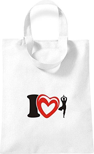 ShirtInStyle kleine Baumwolltasche I Love Yogo Joga Sport Gymnastik Farbe Rot Weiss
